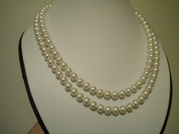 Pearl Wedding necklace Bridal Pearl necklace vintage style necklace 2 strand pearl necklace, TARRAH