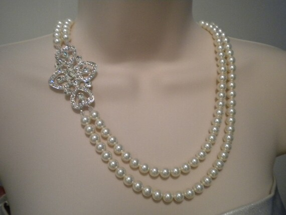 Bridal Jewelry Pearl Necklace Wedding Jewelry Bridal Statement Art Deco Double Strand Victoria