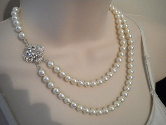 2 strand Pearl necklace, Vintage Style, rhinestone and Pearl, Bridal Necklace, ROBYN II