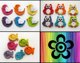 PATTERN PACK of 3 Crochet Applique Patterns-Bird, Owl, and Fish