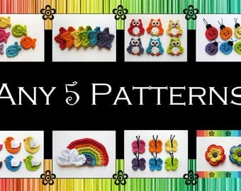 Your Choice of 5 Crochet Patterns (PDF)