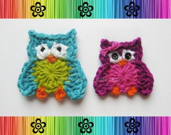 CROCHET PATTERN - Oliver and Olivia Owl Applique - Detailed Photos