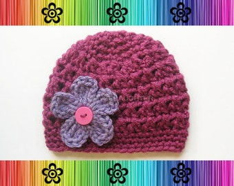 PATTERN-Crochet Eve Hat with Changeable Flower-Preemie to Adult Sizes