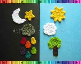 Sun Moon Star Cloud Raindrop Tree Applique  - CROCHET PATTERN
