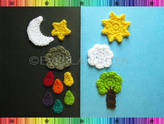 Sun Moon Star Cloud Raindrop Tree Applique  - CROCHET PATTERN