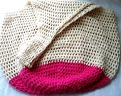 Crochet Beach Bag in Sand and Hot Pink Oversize Crochet Cotton Tote Bag