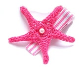 Crochet Starfish Hair Clip in Pink with White Stripe