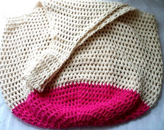 CLEAR OUT SALE Crochet Beach Bag in Sand and Hot Pink Oversize Crochet Cotton Tote Bag
