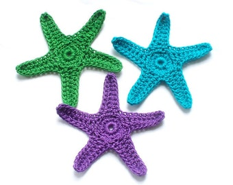 Colorful Crochet Starfish in Bright Turquoise, Purple, Green Ready to Ship