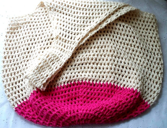 Beach Bag Crochet : Crochet Beach Bag in Sand and Hot Pink Oversize Crochet Cotton Tote ...