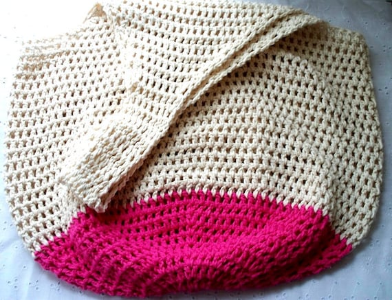 Crochet Beach Bag in Sand and Hot Pink Oversize Crochet Cotton Tote ...