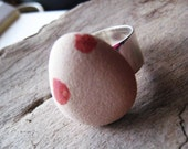 Upcycled beach stone ring.  Lake Michigan sandstone and silver ring.
