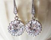 Red carpet rhinestone cubic zirconia dangle earrings in silver