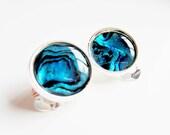 Paua shell earrings Clip on earrings Deep blue shell earrings
