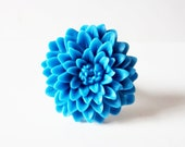 Blue mum ring.  Large flower ring.  French blue adjustable silver ring.