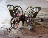 Butterfly ring.  Rainbow crystal ring.  Adjustable brass lace ring.