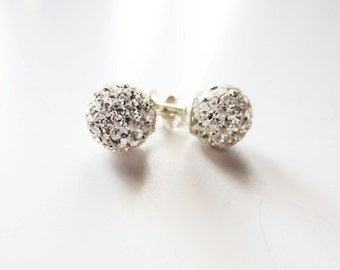 Clear crystal Pave earrings Glitter ball Disco stud post earrings in silver