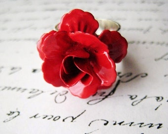 Red, rose enamel ring, in silver