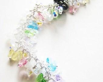 Crystal bracelet.  Butterfly bracelet.  Easter bracelet.  Rabbit bracelet.  Pink blue bracelet.
