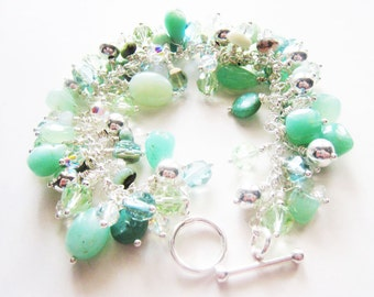 Chrysoprase bracelet.  Mint green bracelet.  Green stone bracelet.  Sterling silver bracelet.  Charm bracelet.