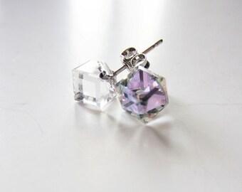 Crystal cube earrings.  Crystal earrings.  Swarovski crystal. Rainbow earrings. Rainbow crystal. Stud earrings. Post earrings. 80s inspired.
