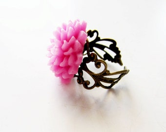 Pink rose ring.  Peony pink ring.  Antiqued brass ring.  Filigree ring.  Flower ring.