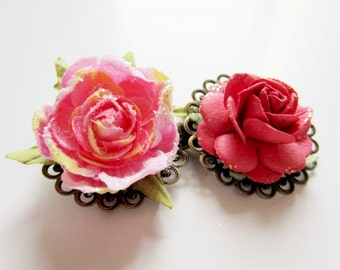 Pink flower hair clip set. Rose barrette.  Brass lace filigree hair clip set.