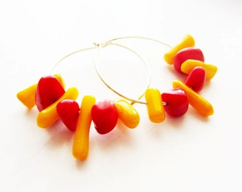 Coral hoop earrings.  Red coral earrings.  Coral jewelry.  Yellow coral earrings. Red yellow earrings. Silver hoop earrings.