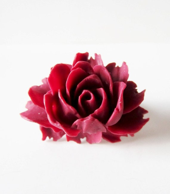 Wine red rose ring.  Lush rose ring.  Wide silver band Victorian inspired.