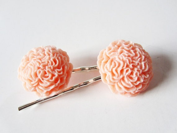 Ballet pink carnation flower silver hairpin set.  Bobby pins.