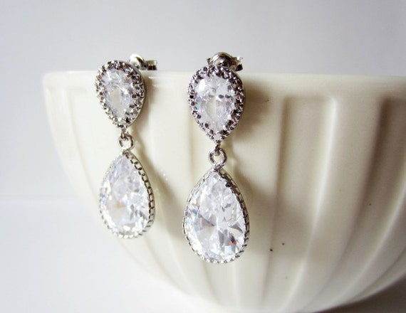 Vintage style crystal wedding earrings.  Double dangle teardrops.
