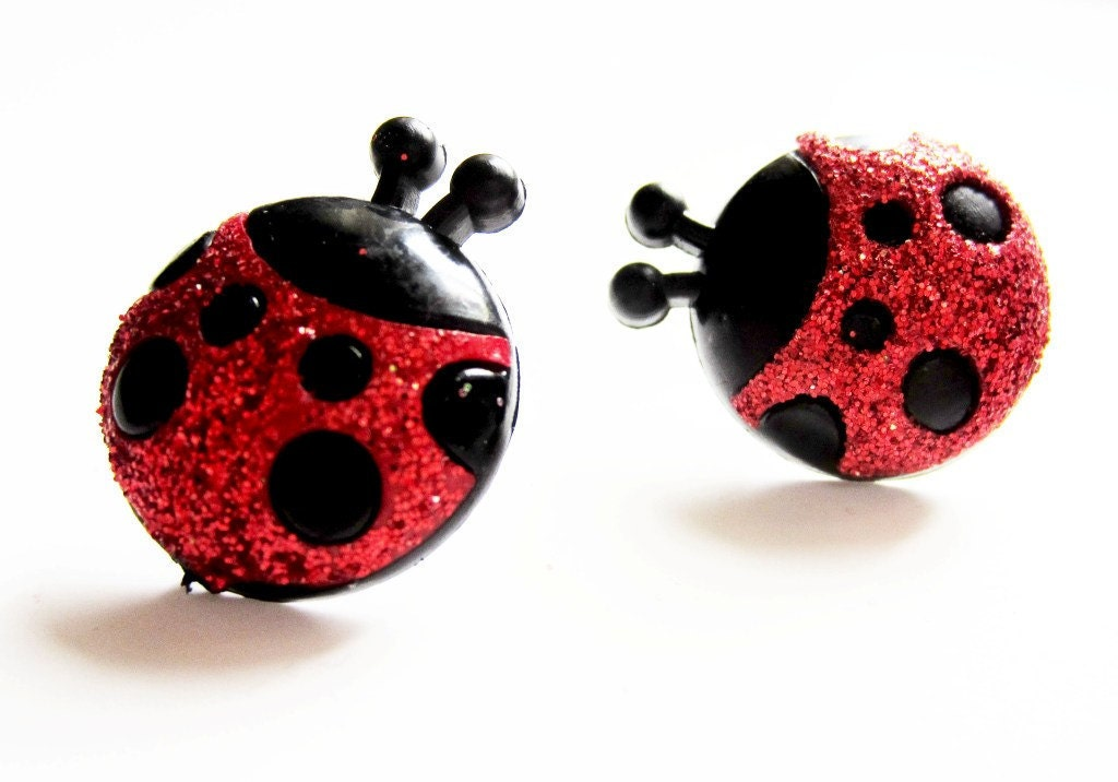 ladybug earrings sterling silver glitter by