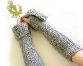 SALE Opera Fingerless Gloves Gray and White Crochet Thick and Cozylast chance SALE