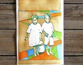 Mississippi Children Jack and Jill Original Watercolor 10x7