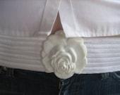 Vintage White ROSE Flower Charmant Belt Buckle
