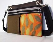 Spring Foilage Khaki, Burnt Orange and Brown Vinyl Pochette.