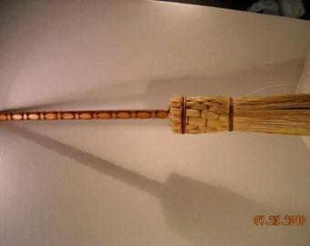 handmade broom/ besom fireplace tool  100% broom corn round broom rainbow string
