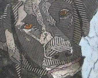 Labrador Retriever Art, Black Lab, Original Collagraph Print, Dog - Look Who's Talking 1