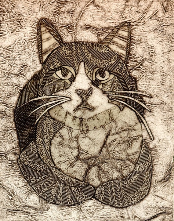 Cat Artwork, Cat Print, Tabby Cat, Original Collograph - Vaska 4