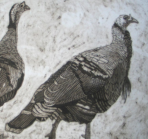 Wild Turkey Art, Original Collagraph, Black and White Print - Out for a Stroll 1