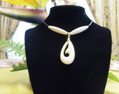 Morie Style Fish Hook Carved Necklace with Two Flanking Bone Beads