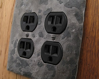 Metal Switch Plate - Hammer Textured Double Plug/Outlet Wall Plate