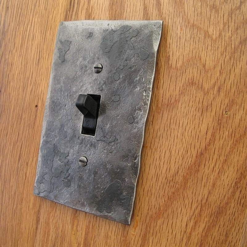 Switch Cover Plate Hammer Textured Iron Single Switch Toggle