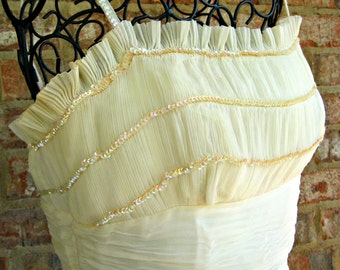 Vintage wedding / prom / party, bridal, wedding, bride dress / gown. 1950's . Vintage white / very light ivory chiffon with sequins.