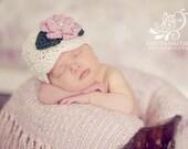 Ecru Baby Girl Hat, Off White Flapper Style Beanie, Newborn Photography Prop