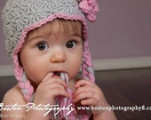 Grey Crocheted Baby Earflap Hat, 0 to 3 Month Girls a Gray Winter Hat, Scalloped Baby Hat, Gray and Pink Hat