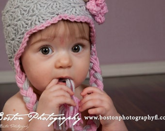 Grey and Pink 3 to 6 month Baby Earflap Photo Prop Hat, Gray and Pink Baby Girl Winter Hat