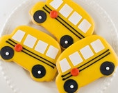 School Bus Cookies - 12 Favors