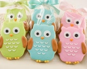 Owl Sugar Cookie Favors - Any Color (1\/2 Dozen Favors, gift bagged and bowed)