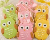 Owl Cookies - 1 dozen Favors, gift bagged and bowed